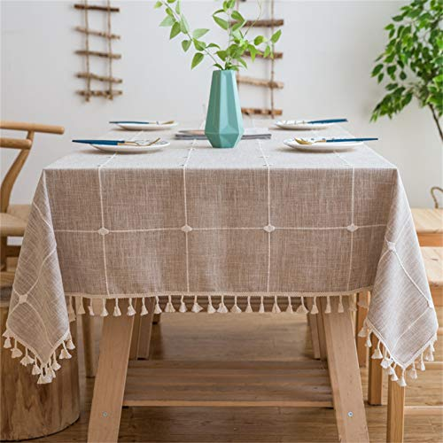 Vonabem Table Cloth Tassel Cotton Linen Table Cover for Kitchen Dinning Wrinkle Free Table Cloths Square (58''x58'', 4 Seats, Light Brown)