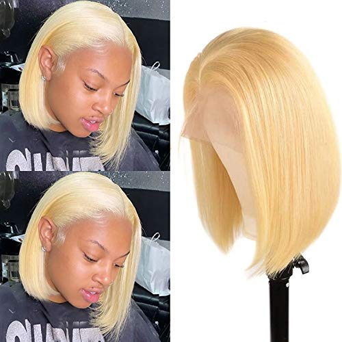T Part Lace Frontal 613 Bob Wig Virgin Human Hair Pre Plucked 8Inch Silky Straight 13x1x4 Lace Front with Baby Hair Middle Part 180% Density Bleached Knots Blonde Bob Wigs for Women (Take Color Well)