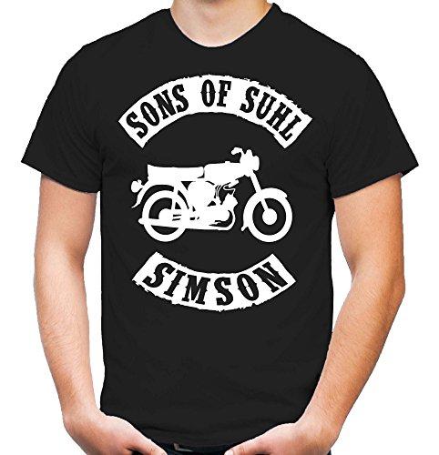 Sons of Suhl Simson – Camiseta | DDR | Este | Fun | Culto | Motocicleta | Camisa | Algodón Negro XL
