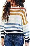 ZESICA Women's Long Sleeve Crew Neck Striped Color...