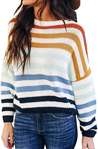ZESICA Women's Long Sleeve Crew Neck Striped Color Block Casual Loose Knitted Pullover Sweater...