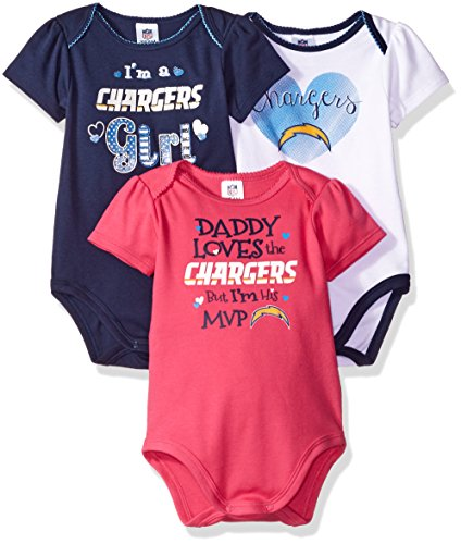 NFL Los Angeles Chargers Baby-Girls 3-Pack Short Sleeve Bodysuits, Navy, 18 Months