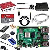 Vemico Raspberry Pi 4 Modello B 4GB Abito 32 GB Sched SD/Adattatore 5V 3A/Custodia ABS/Ventola Raffreddamento/Dissipatore Calore/Cavo HDMI a HDMI/Cavo Alimentazione con Interruttore/Lettore di Schede