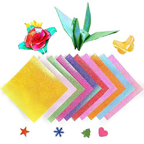 Papel de origami con purpurina, 50 hojas, 10 colores brillantes, cuadrado de una sola cara