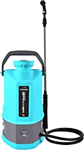 WOEKBON 1.3 Gallon Battery Powered Backpack Sprayer Electric Garden Pump Sprayer W/2.6A Lithium Battery for Long Time Sprery Telescope Wand and Two Nozzles for Spraying Cleaning