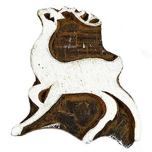 Brown Hand Carved Stamp Animal Printing Block Wooden Textile Stamp Block Print