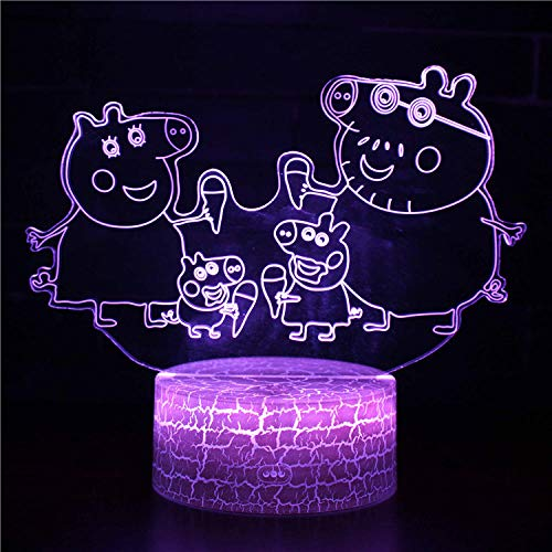 3D Optical Illusion Light-Anime Cartoon pig-3D Night Light LED for Dimmable Touch Control Brightness Light for Home Decoration Birthday and Holiday Gifts for Children(with USB Cable)-Touch