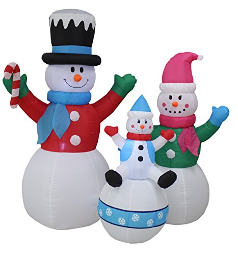 BZB Goods 6 Foot Tall Christmas Inflatable Snowman Snowmen Family Lighted Yard Decoration