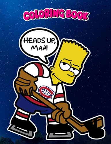 Coloring Book: Montreal Canadiens Bart Simpson, Children Coloring Book, 100 Pages to Color