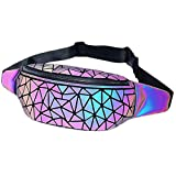 Fanny Packs Geometric Luminous Bum Bag Holographic Metallic Waist Pack Holo Fat Belly Fanny Pack Rave Funny NO.1