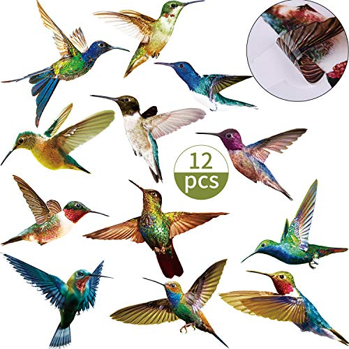 12 Pieces Hummingbird Pattern Window Clings Anti Collision Window Stickers Humming Bird Alert Collision Decals to Help Birds Avoid Strikes on Window, Glass and Doors