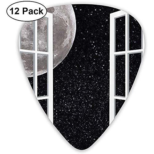 12 Pack de volle maan door het houten raam sprookjes in de nacht ruimte gitaar plukt volledige gift set voor gitarist