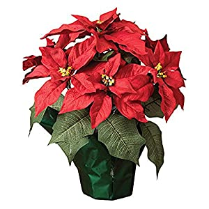 15″ Potted Red Poinsettia Plant with 7 Flowers, Artificial Floral