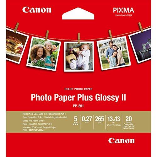 Canon Fotopapier PP-201 glänzend - (13x13 cm 20 Blatt) für Tintenstrahldrucker - PIXMA Drucker (265 g/qm)