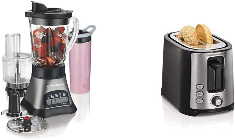 Hamilton Beach Wave Crusher Blender with 40oz Jar, 3-Cup Vegetable Chopper, and Portable Blend-In Travel Jar, Grey & Black (58163) & 2 Slice Extra Wide Slot Toaster with Shade Selector, Black (22633)