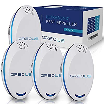GreoUS Upgraded Ultrasonic Pest Repeller 4 Pack - Pest Defender - Control Pest Repeller Plug in - Electronic Repellent - Reject Insect Mosquito Spiders - Pet Safe & Indoor Home
