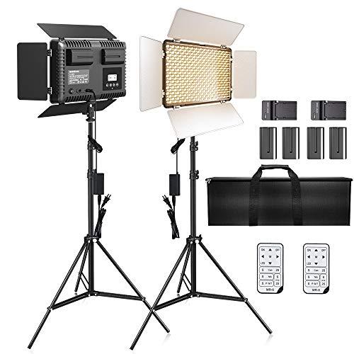 LED Video Light, SAMTIAN 600 Photography Lighting Kit 3200-5600K Camera Studio Light with 4 NP-F Batteries Barndoors 75 Inches Light Stand and Remote Photo Panel Light for Livestreaming Tiktok Youtube