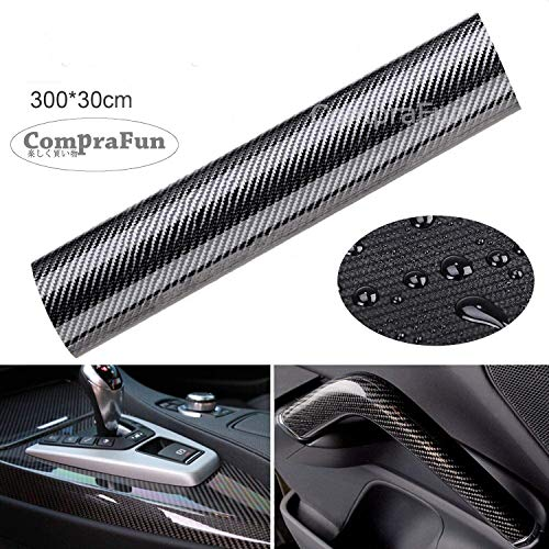 CompraFun 6D Auto Folie, Autofolie Vinyl Aufkleber 300 * 30cm, Wasserdichter flexibel Carbon Folie Kohlefaser Autoaufkleber
