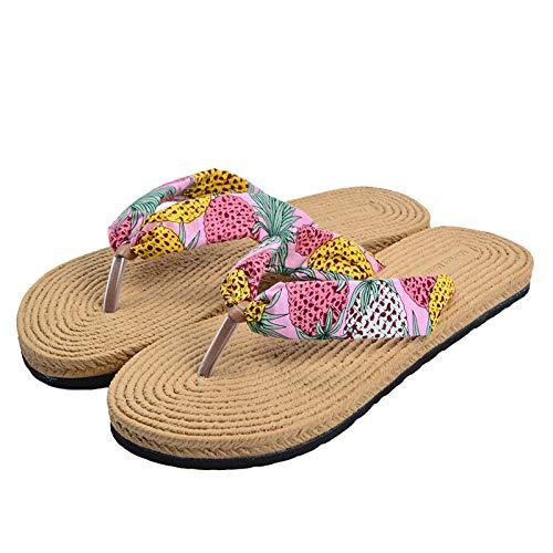 SGZBY Chanclas Verano De Algodón Y Zapatillas De Lino Las Mujeres Usan Playa De Moda con Fondo Plano para Mujer