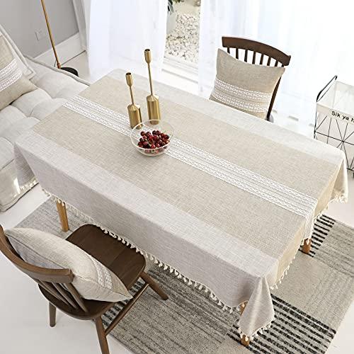 VIVILINEN Copritavolo Rettangolare Antimacchia Tovaglia Tavolo Cotone Lino Tovaglie Rettangolari Table Cloth per Decorazione Tavola da Pranzo Cucina (Cachi, 140x240)