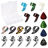 19 Pcs Guitar Thumb Finger Picks and Celluloid Picks with Storage Box, Adjustable Stainless Steel Fingertips Protector Plectrum Kits for...