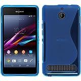 PhoneNatic Hülle kompatibel mit Sony Xperia E1 - blau Silikon Hülle S-Style + 2 Schutzfolien