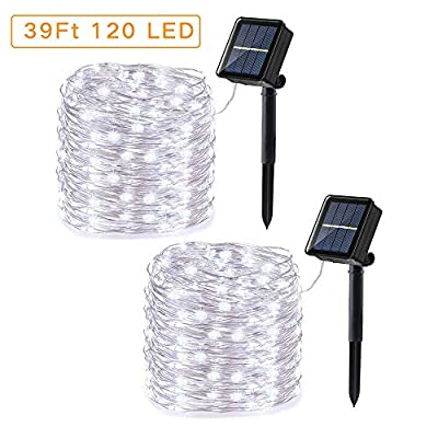Upgraded Solar String Lights, 2 Pack 39ft 120LED 8 Modes Silver Wire Outdoor String Lights, Waterproof Solar Fairy Lights Rope Lights for Patio, Garden, Yard, Party, Wedding Decoration (White)
