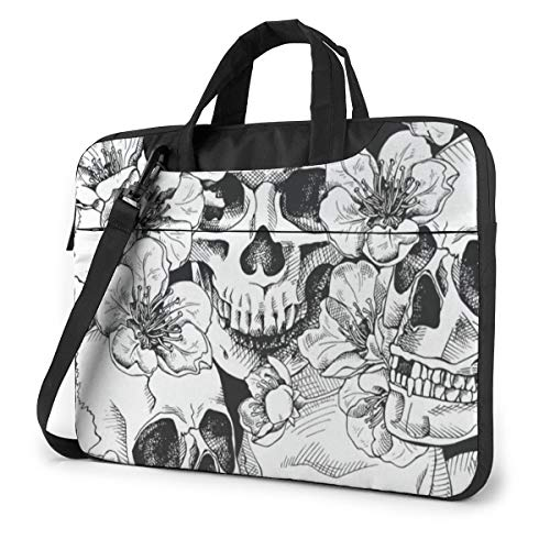 Vintage Happy Halloween Black and White Skulls Laptop Bag Protective Case Computer Messenger Briefcase Women Men 15.6'