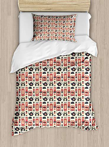 ABAKUHAUS Londen Dekbedovertrekset, Grunge Vintage Graphic, Decoratieve 2-delige Bedset met 1 siersloop, 130 cm x 200 cm, Vermilion Cream Black