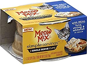 JM Smuckers 799721 1.3 oz Meow Mix Simple Servings Cat Food with Real Tuna44; Shrimp & Whitefish in Sauce - Case of 12
