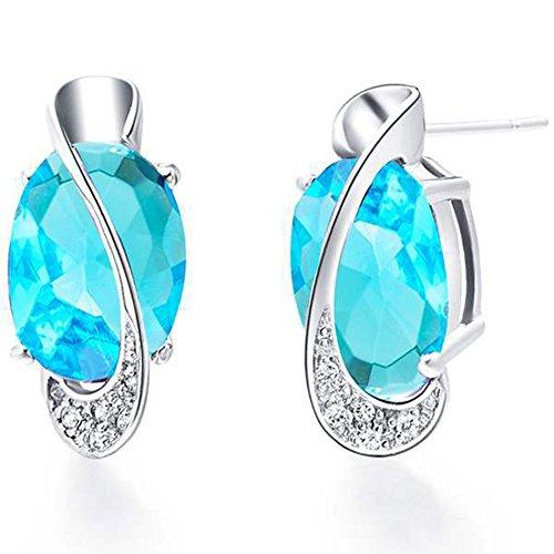 JewelleryClub 925 Blue Sky Swarovski Elements Cristallo Zaffiro Ovale A Forma Di Uovo Orecchini per le Donne