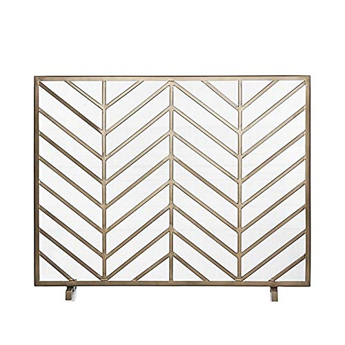 Find Bargain 38×31in Large Single-Panel Fireplace Screen, Indoor Outdoor Wrought Iron Standing Gate...