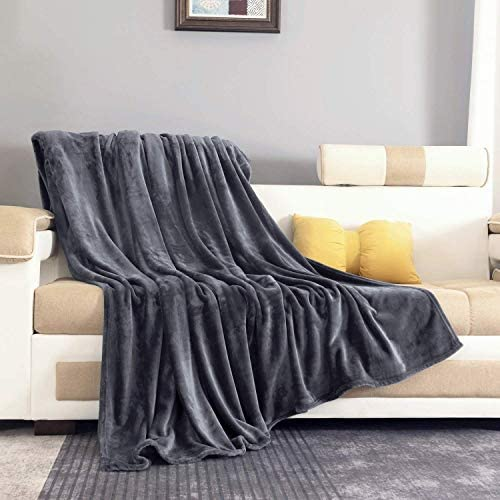 ONME Fleece Blanket Twin Size Dark Gray Soft Cozy Microfiber Flannel Blankets for Sofa Chairs product image