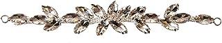 Trimming Shop Hermoso Negro Cristales Pedrería Motivo Costura Parche Aplique para Boda Vestido de Novia, Informal o Formal Ropa Accesorios de Moda - 16 x 2.5cm - Transparente