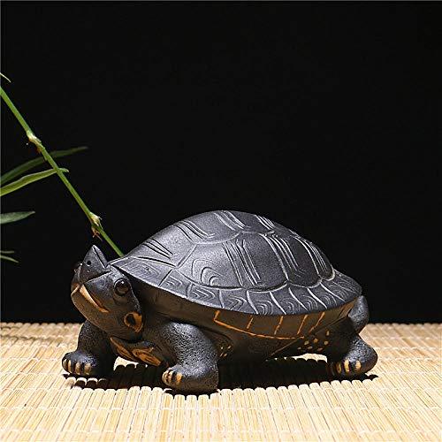 ULDQ Estatuillas Purple Clay Tea Pet Tortoise Accesorios De Té Regalos Longevidad Tortuga Artesanías De Cerámica Juego De Té Juego De Té Decoración