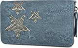 styleBREAKER portamonete con borchie a stella, chiusura con cerniera a 360 gradi, borsello portamonete, donna 02040043, colore:Jeans blu