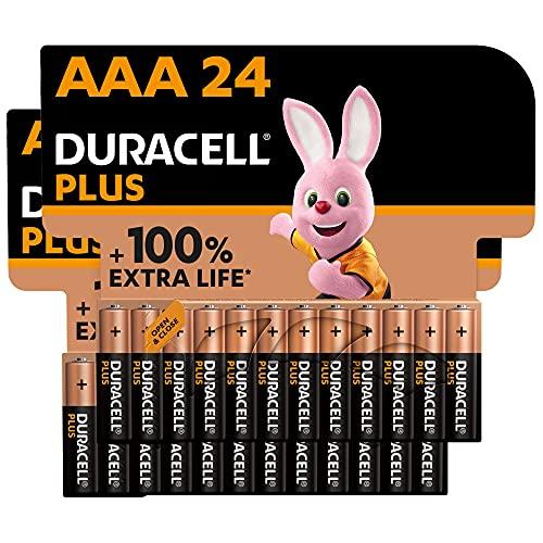 Duracell - NUOVO Plus AAA, Batterie Ministilo Alcaline, Confezione da 24, 1.5 volt LR03 MN2400
