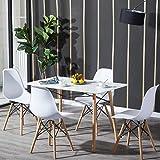 H.J WeDoo Esszimmergruppe mit Esstisch und 4 Essstühlen, Essgruppe Weiß Tisch mit 4 Weiß Stühlen für Esszimmer, Küche & Wohnzimmer
