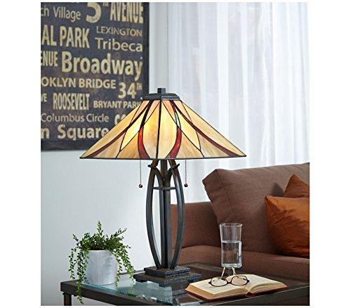 """Quoizel TF1180TVA Asheville Tiffany Table Lamp, 2-Light, 150 Watts, Valiant Bronze (25"""" H x 16"""" W)"""