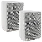 ChiliTec 2-Wege Lautsprecher Weiß, Paar, Wand-Lautsprecher für HiFi Stereoanlage Heimkino, 40Watt 8Ohm