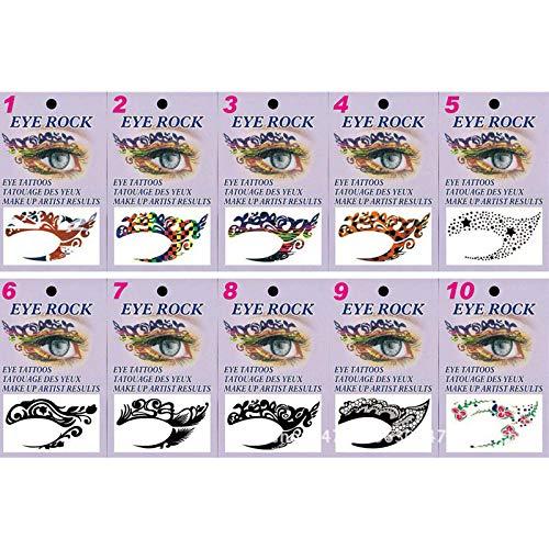 BLOUR 10 Paar/Set Exklusive Stile Party Make-up Eye Rock Gesicht Tattoo wasserdichte Einweg...