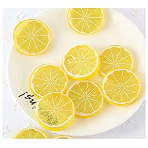 Thinkmay 30PCS Fake Lemon Slices Decor Artificial Plastic Simulation Fruit Lemon Slice Realistic Fake Fruit Model Party Home Kitchen Restaurant Decoration – Yellow