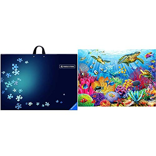 Ravensburger Puzzle Storage for Up to 1000 Pieces & Tropical Waters 500 Piece Jigsaw Puzzle for Adults – Every Piece is Unique, Softclick Technology Means Pieces Fit Together Perfectly