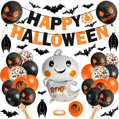 KATELUO 54 Stück Halloween Deko Set, Halloween Luftballons, Halloween Party Luftballons, Happy Halloween Banner, Latex Ballons Folienballons, 3D Fledermaus Aufkleber für Halloween Decor Supplies