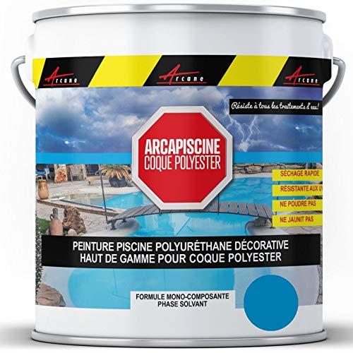 Arcane Industries - Pintura de piscina con carcasa de poliéster más resistente que una pintura epoxi de poliuretano, color azul cielo ral 5015-5 kg (hasta 15 m2 para 2 capas)
