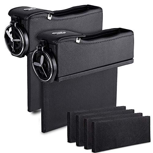 Car Console Seat Side Coin Holder Cup Holder Storage Organizer -Driver and Passenger Side Super Handy Storage Organizer for Cellphone, Wallet, Keys Zento Deals 2 Pack of Black