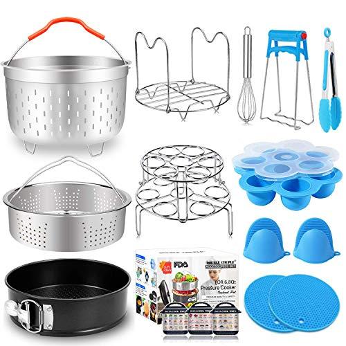 17 PCs Pressure Cooker Accessories for Instant Pot 6 8 Qt with Steamer Basket Silicone Egg Bites Molds Egg Steamer Rack Springform Pan Kitchen Accessories