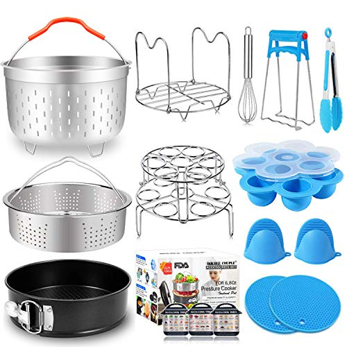 17 PCs Pressure Cooker Accessories for Instant Pot 6 8 Qt with Steamer Basket Silicone Egg Bites Molds Egg Steamer Rack Springform Pan Kitchen Accessories