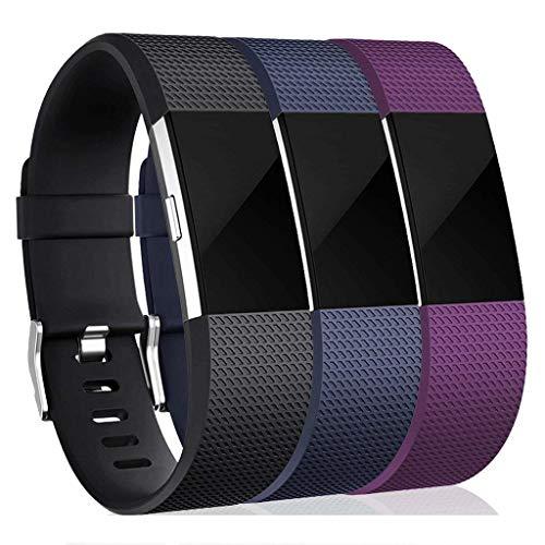 INF armband voor Fitbit Charge 2 fitnessarmband - 3-pack - reservearmband, wisselarmband, accessoirearmband, horlogeband, fitbitarmband - zwart/blauw/lila