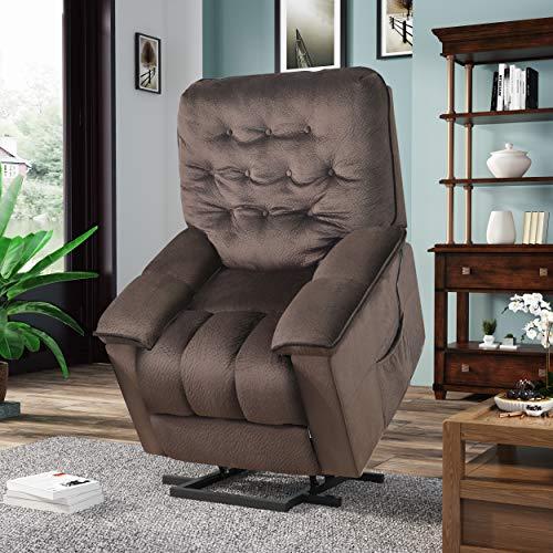 Harper&Bright Designs Power Lift Recliner Chair Soft Fabric Living Room Sofa Chair (Espresso Fabric)